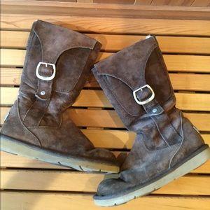 Ugg Brown Suede Zipper / Buckle Boots